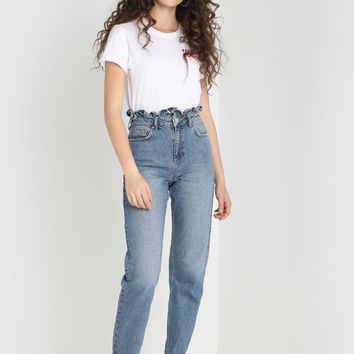 FRILL TOP MOM - Relaxed fit jeans - dark blue denim @ Zalando.co.uk 🛒