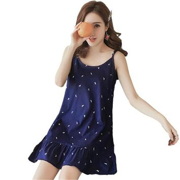 2018 Women Summer Sleep Dress Sexy Suspender Girls Nightgown High-end Cotton Printed Female Sleepwear Big Yards Nighties A0228