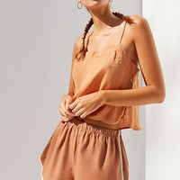Urban Renewal Remnants Contrast Linen Dolphin Short | Urban Outfitters