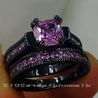 SZ5-11 Retro Fashion Jewelry 14kt black gold filled Pink sapphire Lady's Dimonque Wedding Ring set gift Alternative Measures