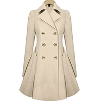 HN Women Elegant Long Trench Coat Jacket HN Double Breasted Pea Overcoat