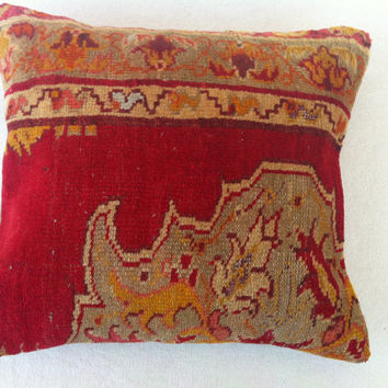 Hand Woven Turkish Old Rug Pillow - Modern Bohemian Home Decor - Decorative Pillow - Kilim  Pillow  18 x 16 Inch - FAST SHIPMENT