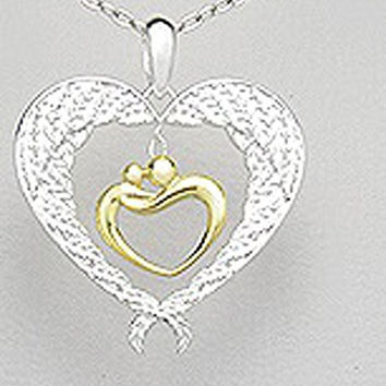 Exceptional Quality .925 Sterling Silve 18k Yellow Gold plated Love Bird Couple Love Family Wedding mariage Symbol of Love Body Enlaced 28 mm X 32 mm Pendant Comes with a 20'' Silver Plated Chain Necklace