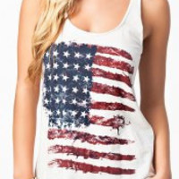 Multi Color American Flag Printed Tank Top