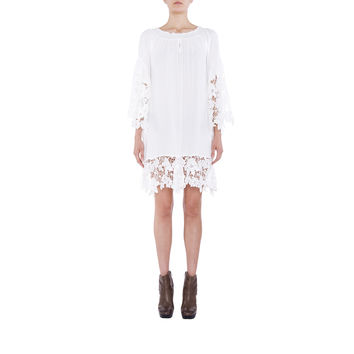 VENUS FLOWER LACE OFF SHOULDER MINI DRESS - WHITE