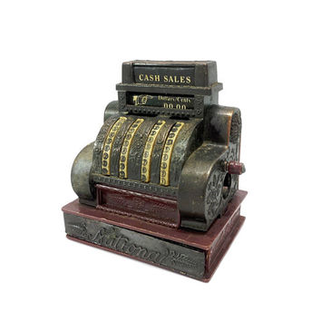 Miniature National Cash Register Pencil Sharpener Vintage Office Supply Antiqued Metal Die Cast Collectible Toy Dollhouse Diorama Hong Kong