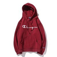 Champion tide brand couple thick casual sports hooded sweater Red