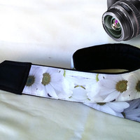 Floral Camera Strap. Flowers Camera Strap. Black White  Camera Strap. Camera Accessories
