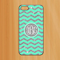 Glitter iPhone 5 Case,Green chevron monogram iPhone 5 5s Case,Monogram Hard case cover skin for iphone 5/5s cases - (Not Actual Glitter)