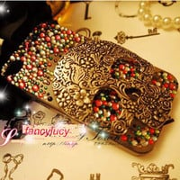 Halloween iPhone 4 Case iPhone 4s Back Case Cover Skull iphone 4 case Crystal iPhone 4 bling Case Vintage Design iphone 4 case skin