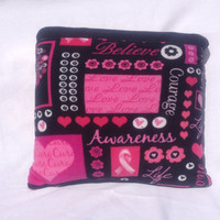 Fleece quillow pink ribbon awareness soft cozy blanket, couch quilted throw blanket