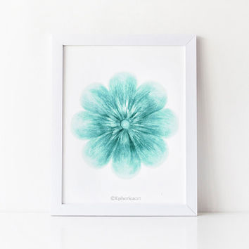 Teal flower wall art, Teal home decor, PRINTABLE wall art print, Bathroom wall art, Flower art print, Bedroom wall decor, Digital wall print