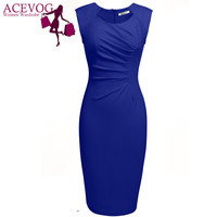 ACEVOG Women sexy vestidos 2016 Summer Casual Elegant Dresses Cap Sleeve Pleated Solid Slim pencil office lady Dress