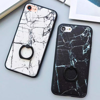 Fashion Classics Black White Marble Case For iphone 7 Case For iphone7 6 6S PLus Back Cover Phone Cases with Ring Grip Fundas -0316