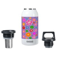 Purple Abstract Flowers 10 Oz Insulated SIGG Thermos Water Bottle