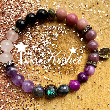 Anxiety Protection,Amulet, Crystal healing,stretchy gemstone healing bracelet, protection spell Amethyst, Rose Quartz, Obsidian, Labradorite