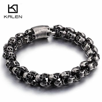 Kalen Punk Long Matte Skull Necklace & Bracelets For Men Stainless Steel Brushed Skull Charm Link Chain Male Gothic Jewelry