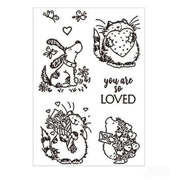 Cute Hedgehog cat dog Clear Stamps Transparent Silicone Stamps For Scrapbooking DIY Crafts Stamp For Photo Album Card Making