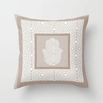 Hamsa in morrocan pattern Throw Pillow by Heaven7