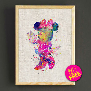 Minnie Mouse Watercolor Art Print Disney Characters Poster House Wear Wall Decor Gift Linen Print - Disney - Buy 2 Get 1 FREE - 72s2g