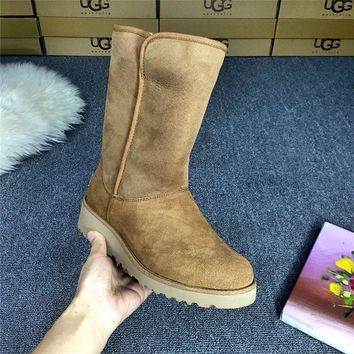 LFMON UGG 1012497 Wedges Tall Women Fashion Casual Wool Winter Snow Boots Chestnut