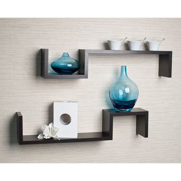 "DanyaB Danya B Black ""S"" Wall Mount Shelves (Set of 2)"