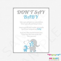 Blue and Gray Baby Shower Games, Don't Say Baby, Printable baby shower, clothes pin game, blue gray elephant, boy baby shower download ELLBG
