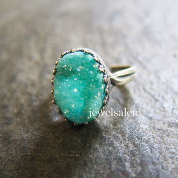 Druzy Ring, Silver Gold Brass Adjustable Mint Teal Aqua Turquoise