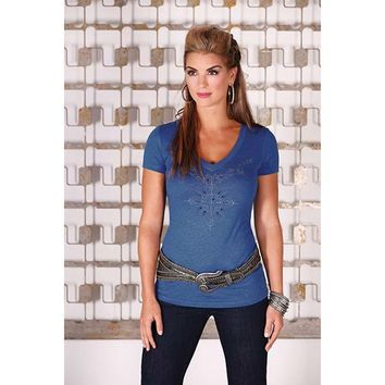 Wrangler Women's Rock 47 V Neck Studded Vintage Royal Top - LJK788V