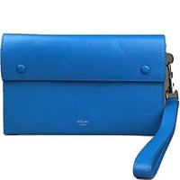 CELINE Blue Leather Wristlet Handbag Bag Purse Clutch