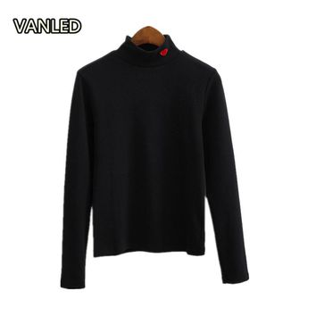 Vintage 2017 Turtleneck Collar Heart Embroidery Love Long Sleeve Women Thin Sweatshirt Pullover 1282