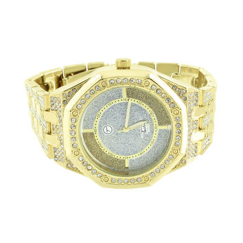 Illusion Dial Mens Watch Octagon Screw Design Bezel Iced Out Steel Back AP-02