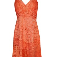 Womens Strap Dress Embroidered Red Long A Line Flare Sundress M