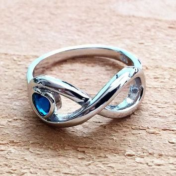Sterling Silver Infinity Promise Blue Sapphire heart Ring