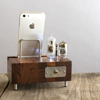 LED illuminated dock for iPhone Samsung Galaxy handcrafted butcher block from walnut wood with triple electron tubes