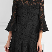 Valentino - Ruffled cotton-blend guipure lace mini dress