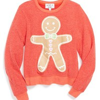 Girl's Wildfox 'Gingerbread Man' Scented Sweatshirt