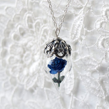 Blue Rose Necklace Flower Terrarium Romantic by WoodlandBelle