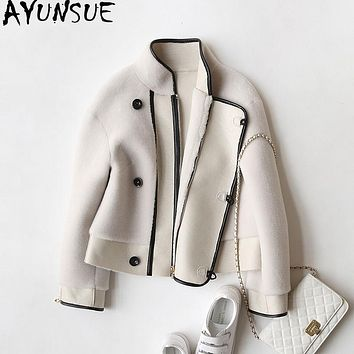 AYUNSUE 2018 Real Sheep Shearing Fur Coat Winter Women's fur Coats Genuine Wool Jackets For Women Motor PU Leather Jacket WYQ913