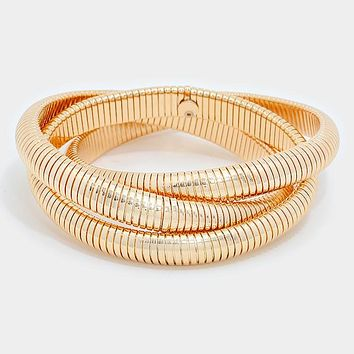 3 piece connected twisted bracelet bangle