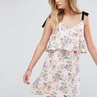 Miss Selfridge Tie Shoulder Floral Dress at asos.com