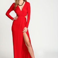 Red Wrap Cut Out Maxi Dress