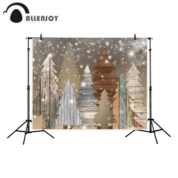 Allenjoy photography backdrop Christmas wood style tree bokeh snow background photocall portrait shooting customize printed