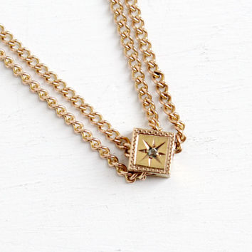 Antique Rosy Gold Filled Diamond Slide Charm Necklace - Victorian Long Layered Fob Pocket Watch Chain Star Etched Jewelry