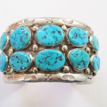 Turquoise Cuff Bracelet Chunky Sterling Tommy Singer Navajo