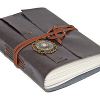 Dark Brown Faux Leather Wrap Journal with Steampunk Bookmark
