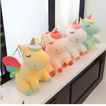 Kawaii 1pc 25cm Unicorn Plush Toys Stuffed Animals Horse Doll Christmas Present Cartoon Kids Baby Toy Birthday Gift For Children