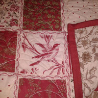 Beautiful red and cream French General Quilt