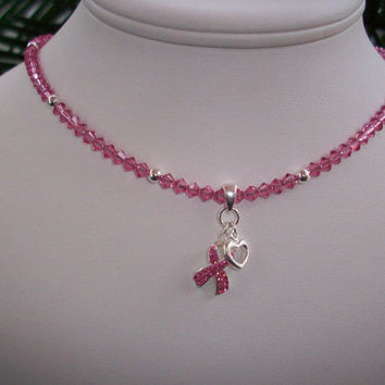 Pink Crystal & Silver Ribbon Heart Breast Cancer