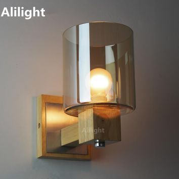 Vintage Loft Amber Glass Wall Lamp Sconce Wood Luminaire Wall Light Fixture for Bedroom Bedside Bathroom E14 Home Lighting Decor
